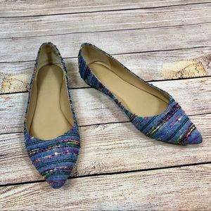 Audrey Brooke Multi Colored Hailey Flats 7.5